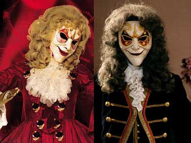 Clockwork Androids from Doctor Who, dressed in 18th Century French aristocracy clothing.