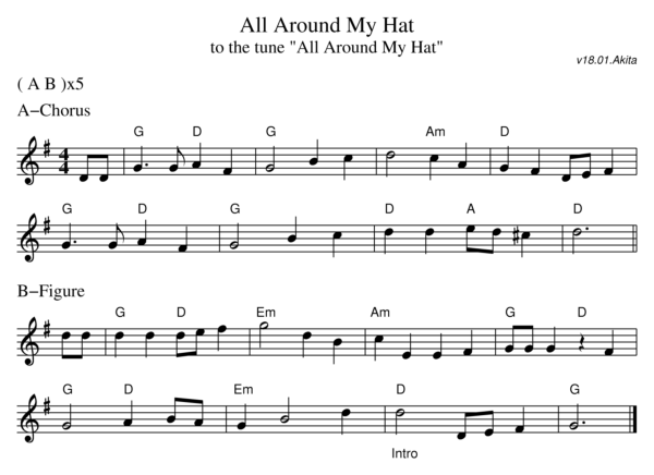 Sheet music for the dance All Around My Hat