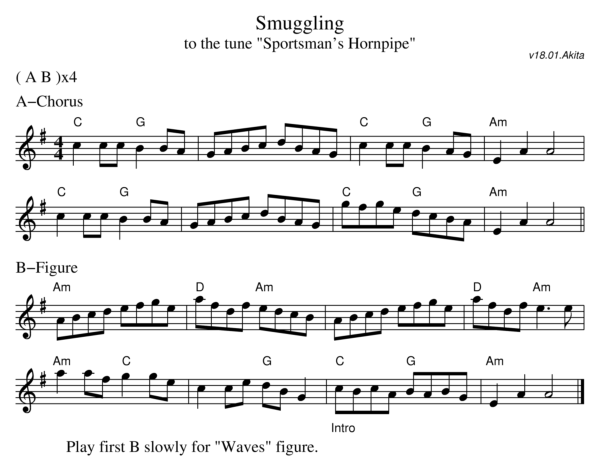 Sheet music for the dance Smuggling
