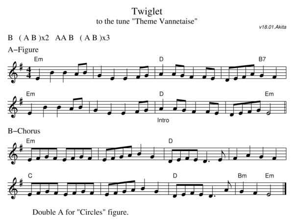 Sheet music for the dance Twiglet